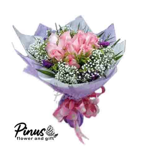 Home Hand Bouquet - Soft Purple Romance