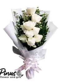 Home Hand Bouquet - White Green Life