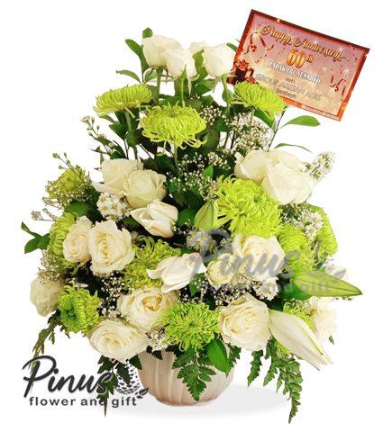 Bunga Meja Surabaya -Medium Shappire In Vase