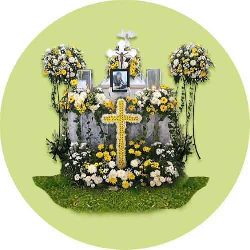 dekorasi bunga peti mati