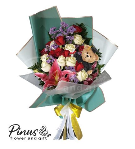 hand bouquet wisuda - Hand Bouquet Graduation Teddy